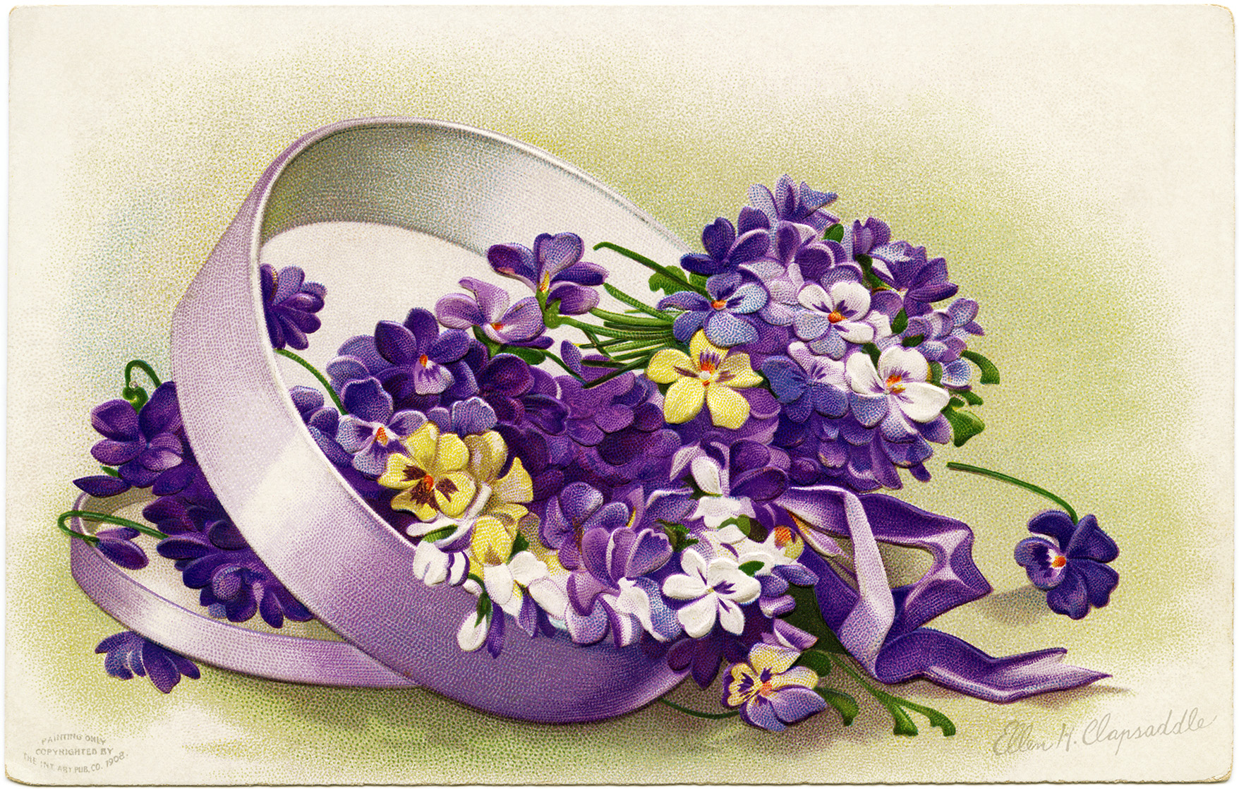 Ellen Clapsaddle Purple Flowers Easter Image Old Design Shop Blog