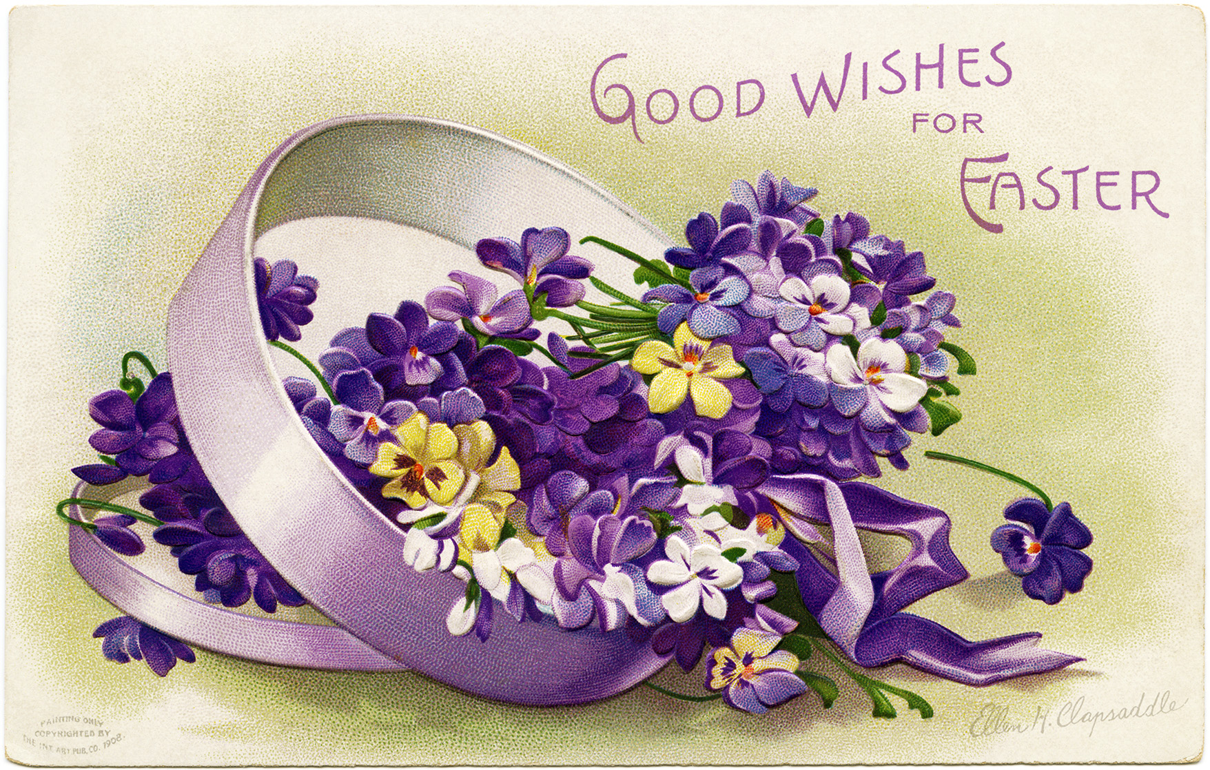 clapsaddle easter postcard, purple flowers in box, vintage easter clipart, signed ellen clapsaddle, printable easter card