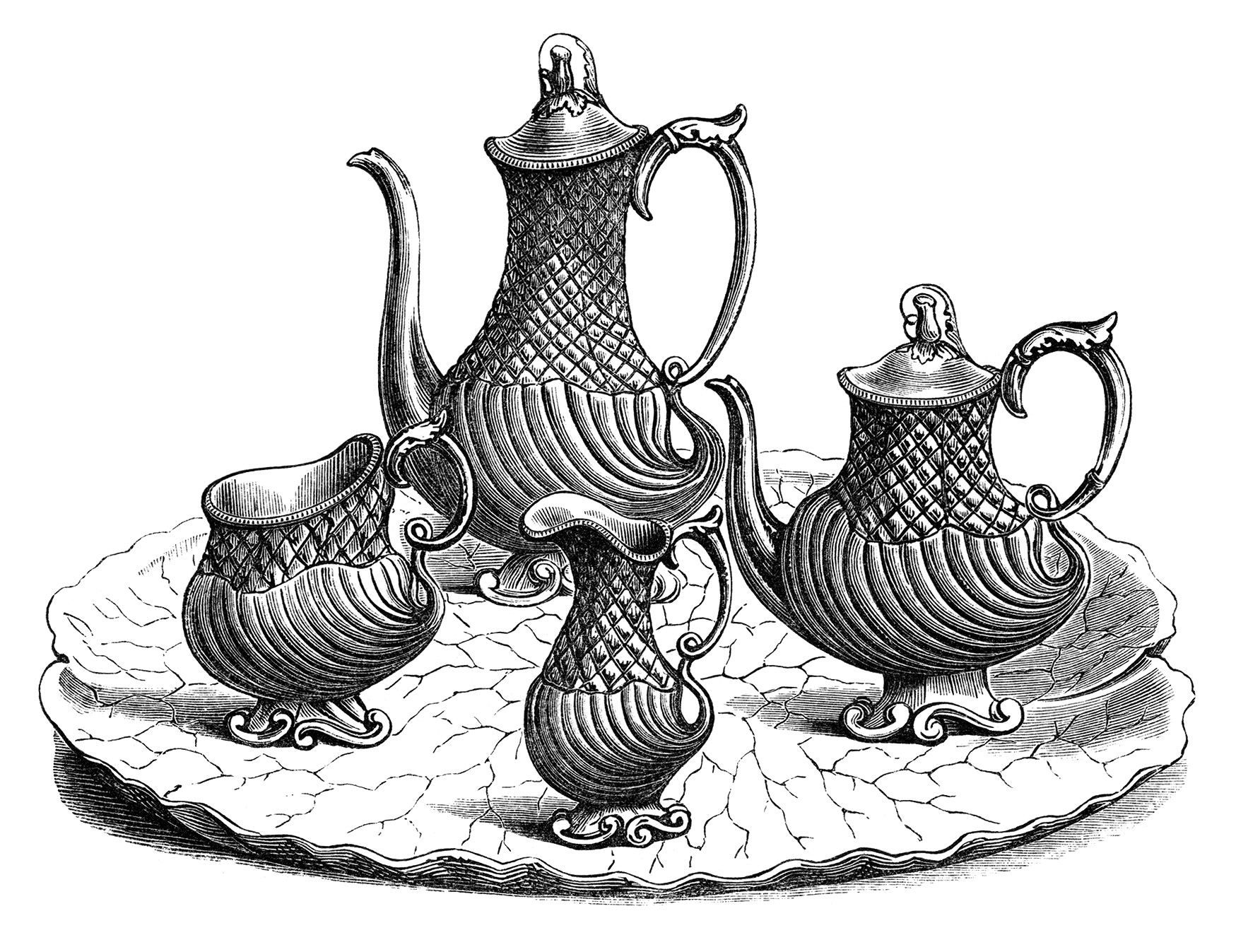 victorian tea set, vintage kitchen clip art, black and white clipart, antique coffee tea service, old fashioned tea party