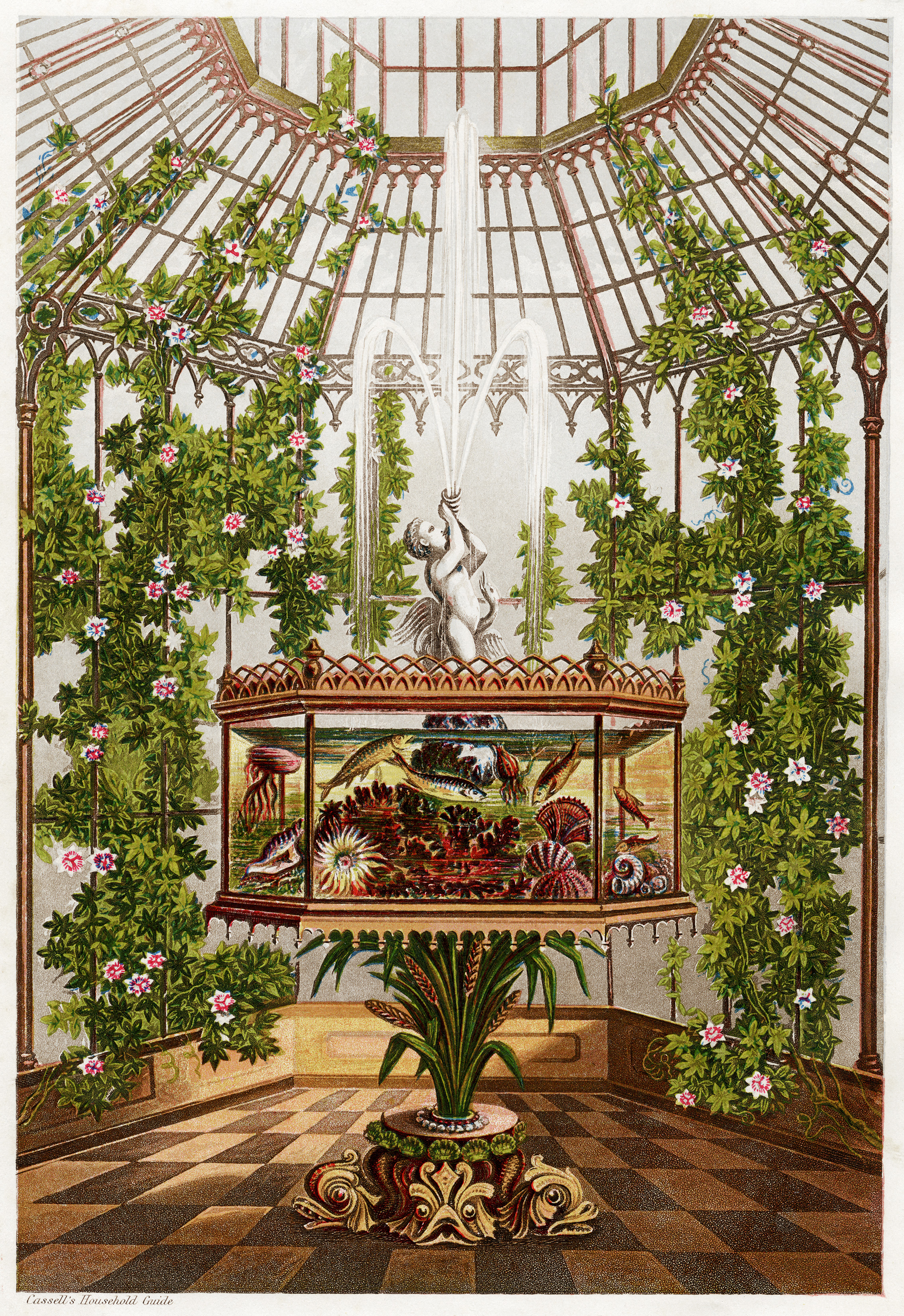 conservatory and aquarium, cassell's household guide, free vintage clipart, glass room image