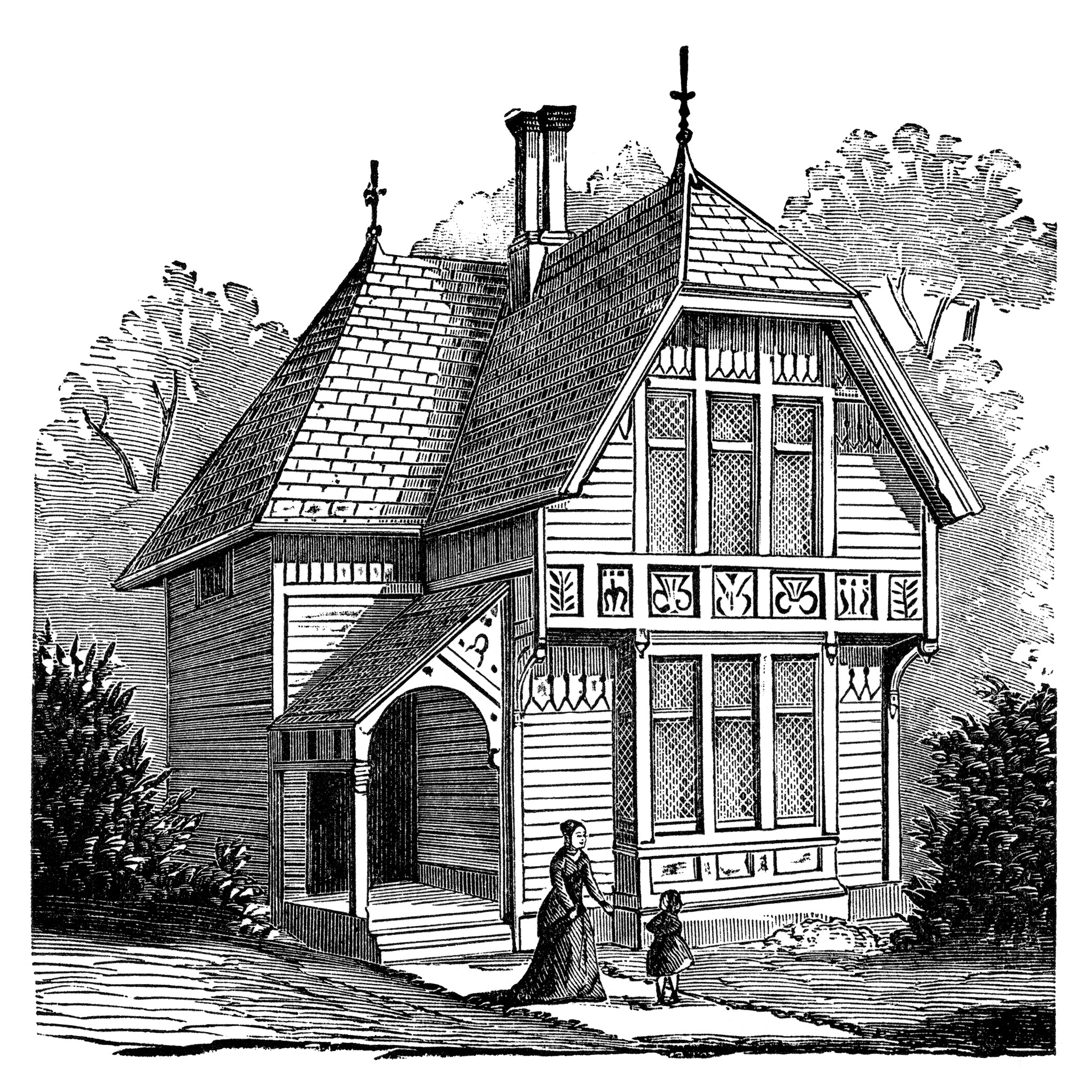 Two story victorian cottage free clip art image old for Two story house drawing