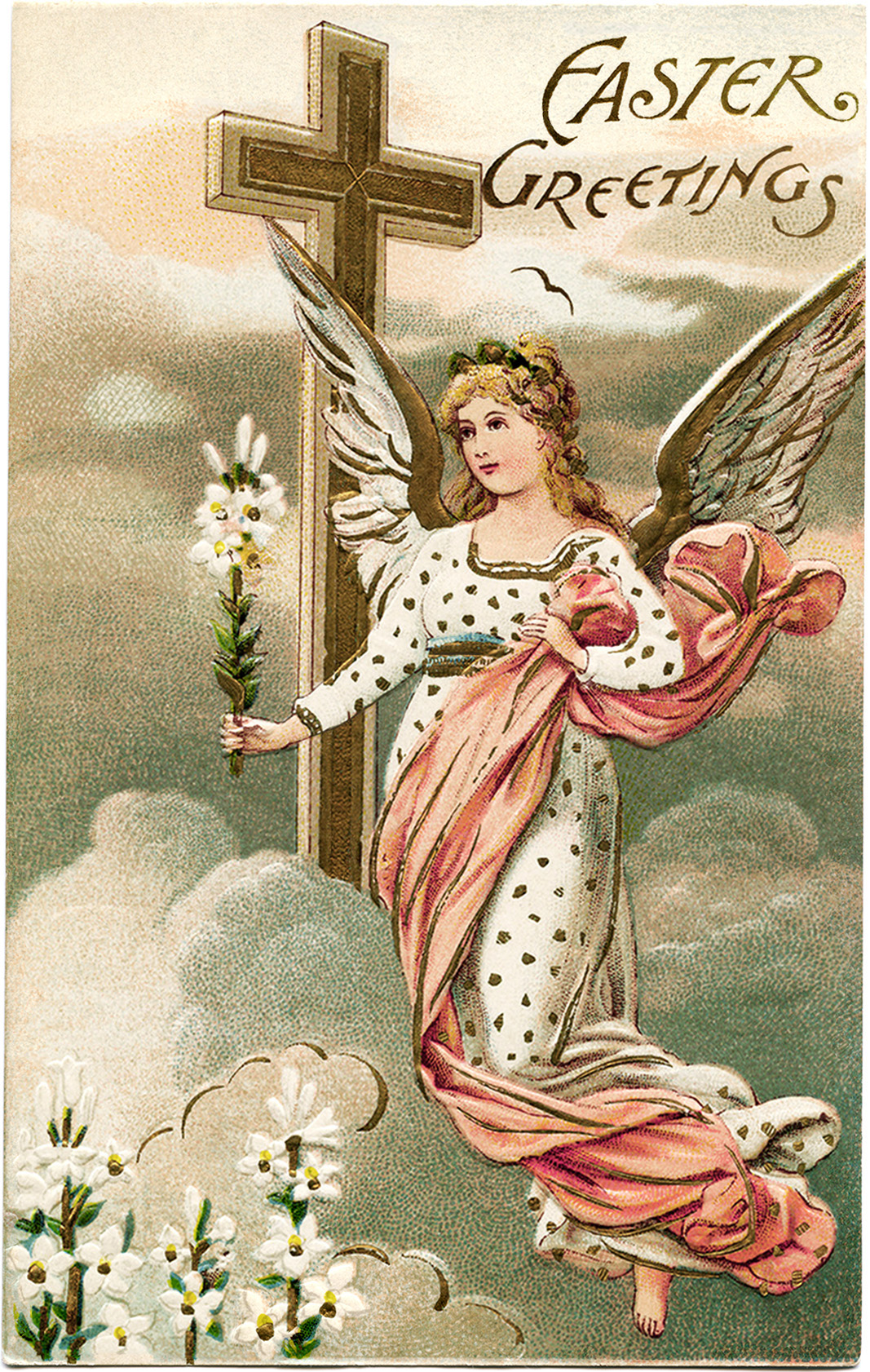 graphic regarding Free Printable Easter Cards Religious named Traditional Angel Easter Postcard ~ Absolutely free Obtain - Aged Style and design
