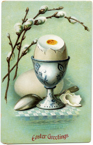 vintage easter postcard, egg in cup, cracked egg pussy willows image, printable easter, old easter card, vintage food clip art