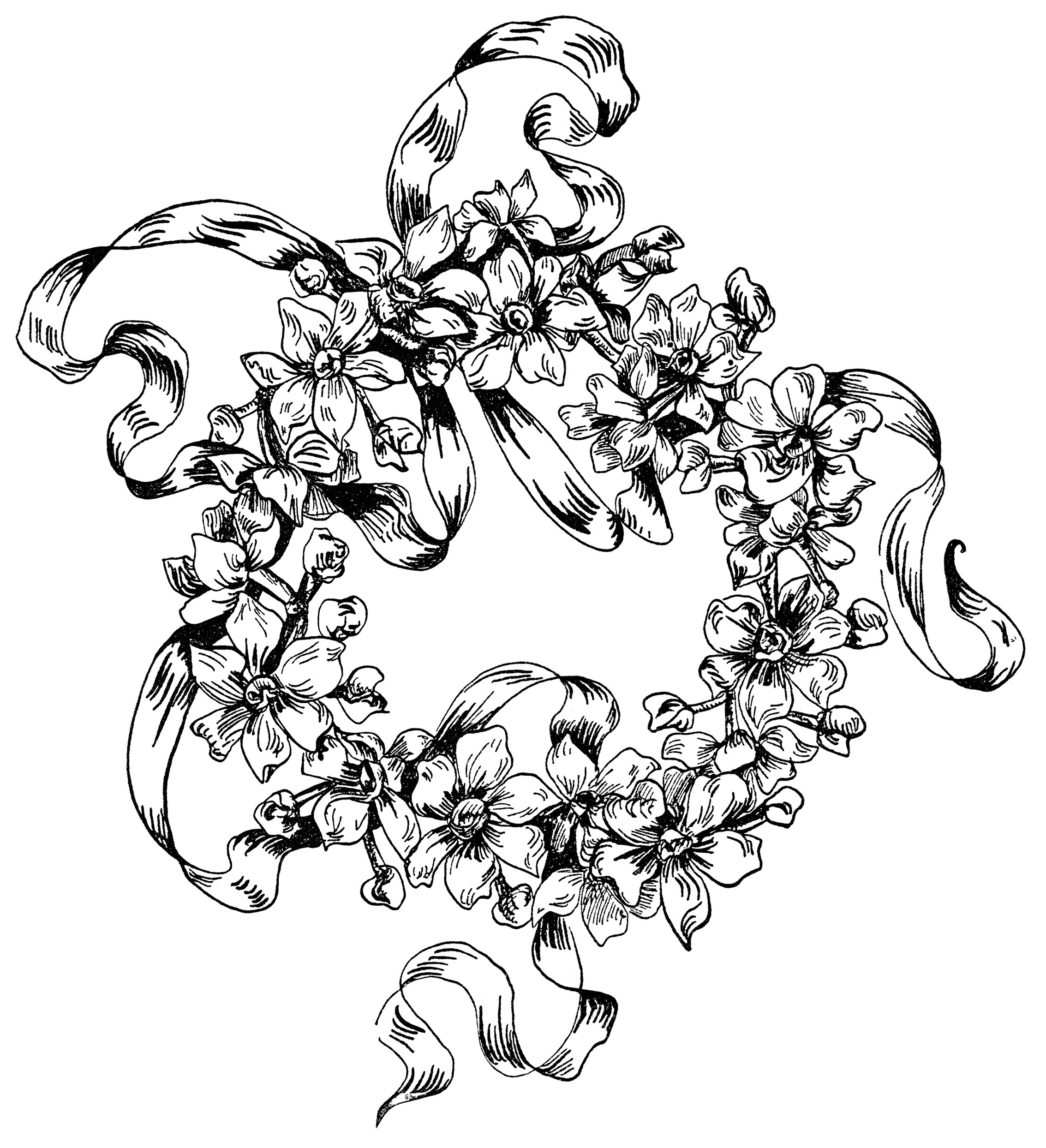 flower design illustration, black and white clipart, ornamental clip art, vintage flower drawing, floral embroidery pattern