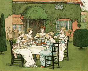 kate greenaway, the tea party, vintage storybook image, Victorian girls tea party, vintage garden party, Marigold Garden