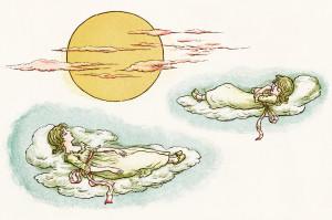 kate greenaway, to the sun door, vintage storybook image, marigold garden, girls sleeping on clouds, victorian girls printable