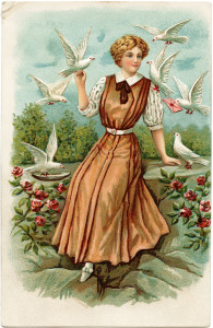 Free vintage clip art lady with white doves in garden postcard image