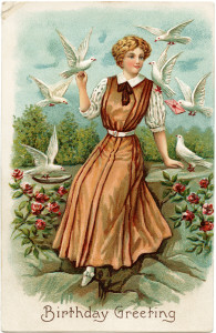 Free vintage clip art lady with white doves in garden birthday postcard image