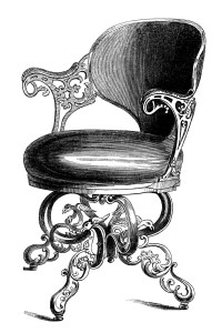 antique music chair, swivel music seat, black and white clip art, vintage chair engraving, old fashioned chair clipart