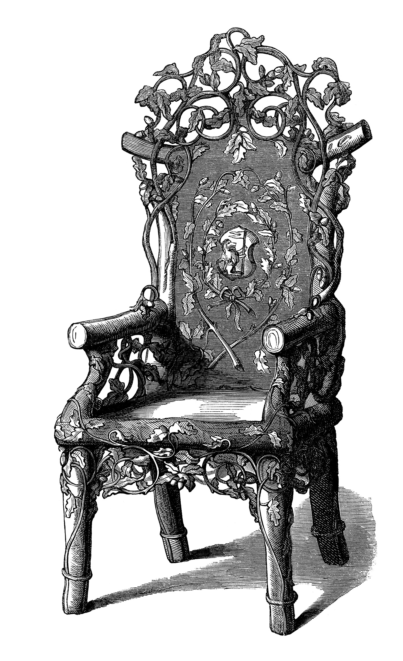 Antique Rustic Chair Free Clip Art Image