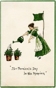 st patricks day, vintage postcard, woman watering plants clipart, digital download, printable holiday graphic