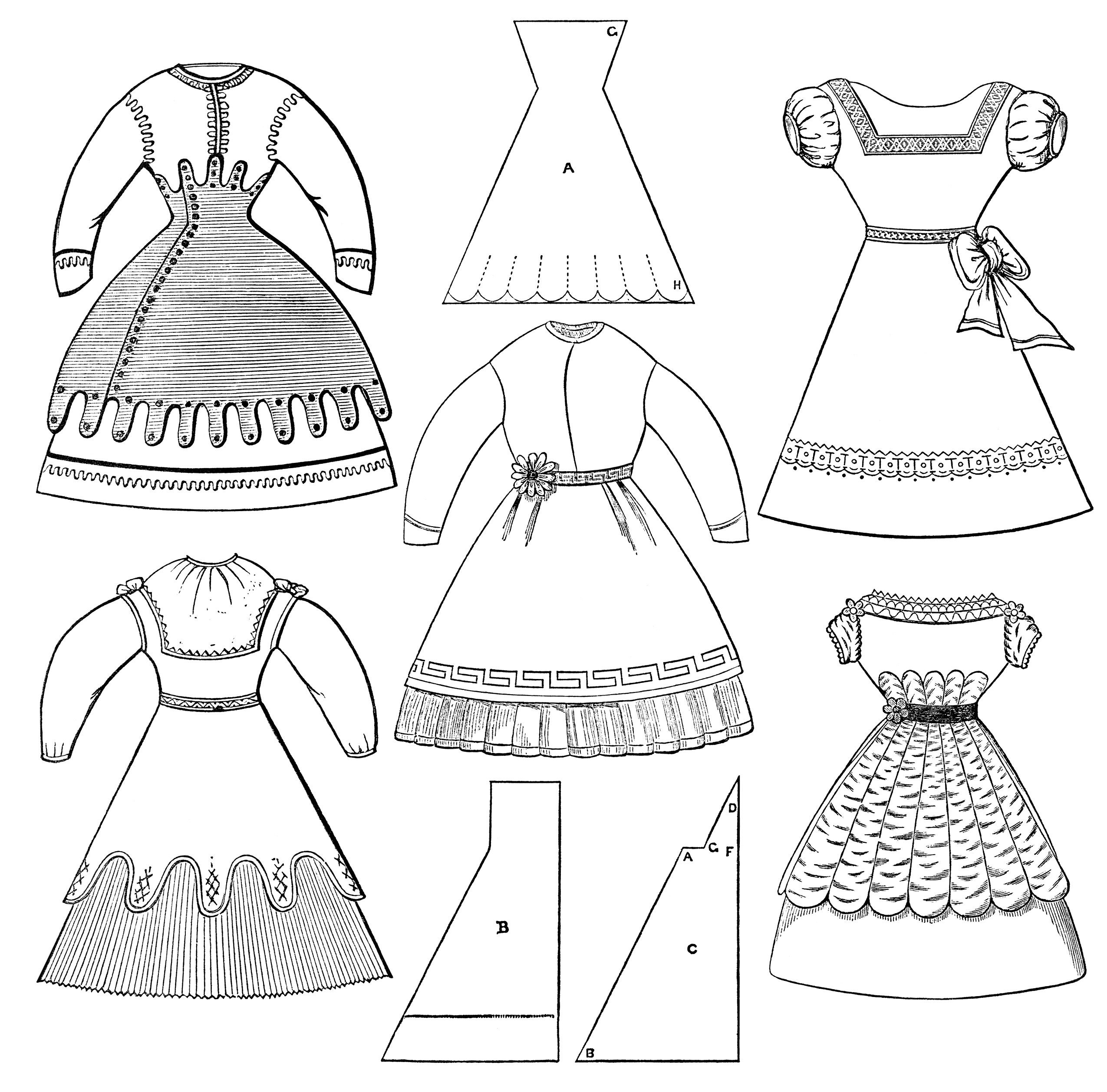 Woman In Dress Clipart Black And White