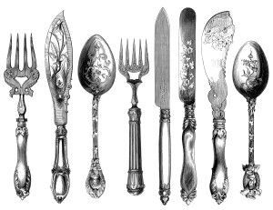 vintage cutlery clipart, cutlery engraving, fork knife spoon graphic, black and white clip art, kitchen printable