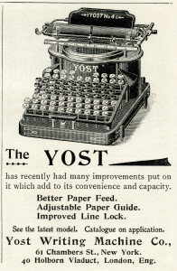 antique typewriter, black and white clipart, old magazine ad, vintage office clipart, yost typewriter illustration