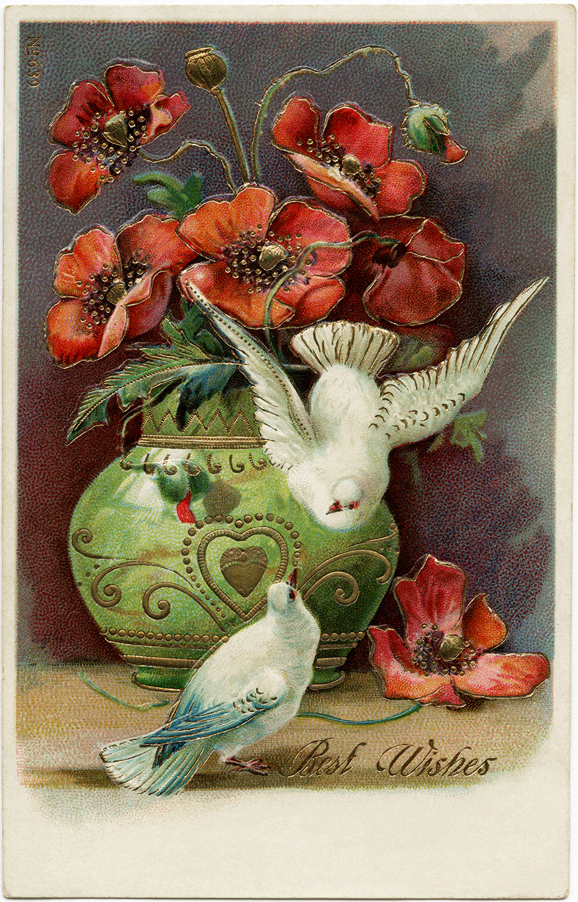 vintage postcard best wishes, poppies and birds clip art, printable postcard graphic, old postcard art, flowers doves vintage image