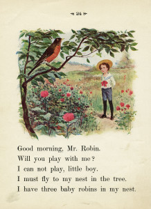 robin in tree, vintage school reader page, old book page, boy talking to bird, vintage child clipart, vintage summer printable