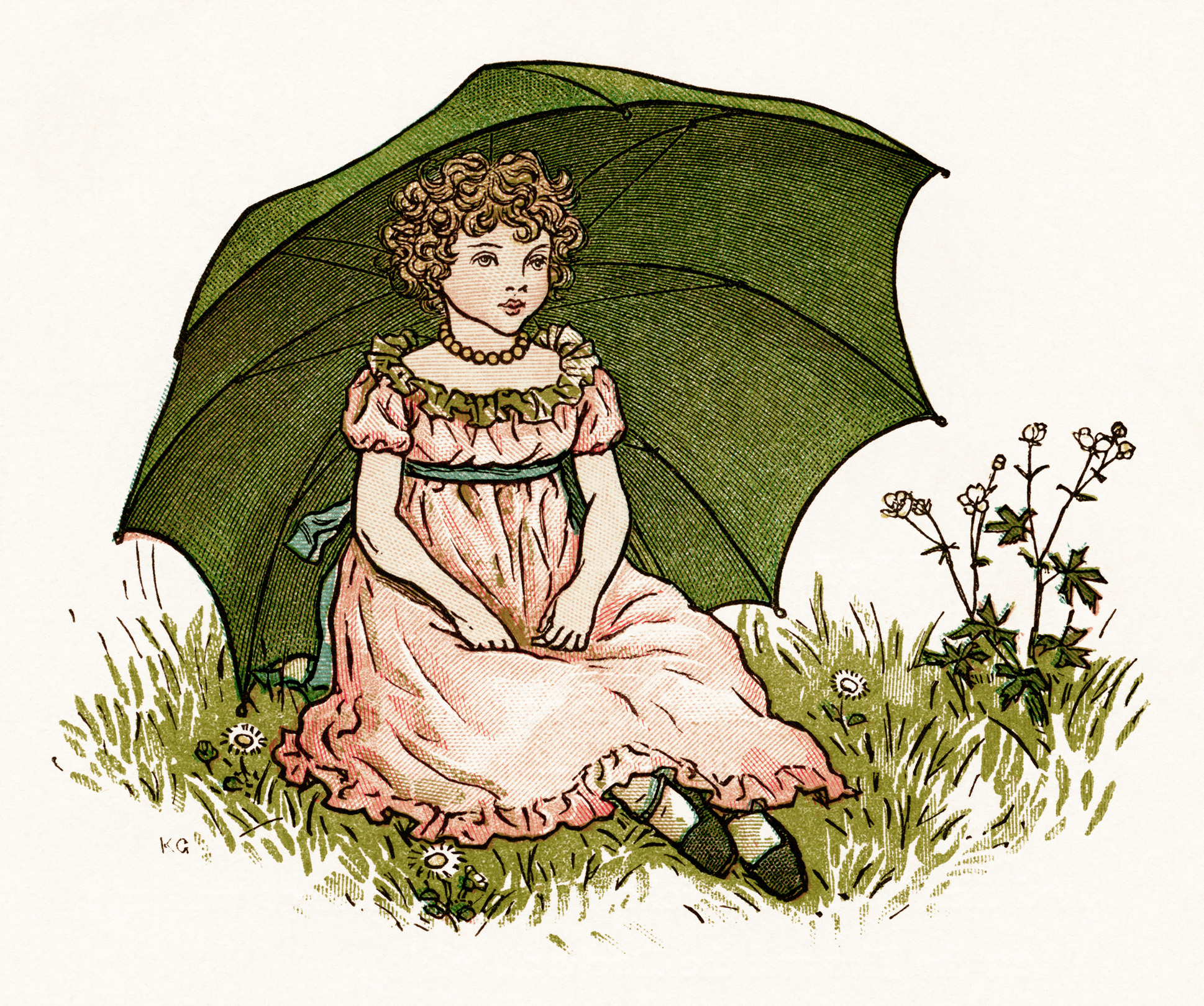 Kate Greenaway, Marigold Garden, little London girl, girl sitting on grass, Victorian girl, girl green umbrella, vintage storybook image