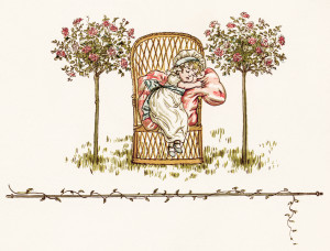 Kate Greenaway, sleeping girl, vintage storybook image, Victorian child clipart, free printable girl illustration