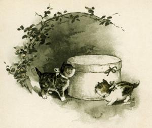vintage kittens clip art, storybook illustration, free kitten printable, cats hat box image, cat clipart