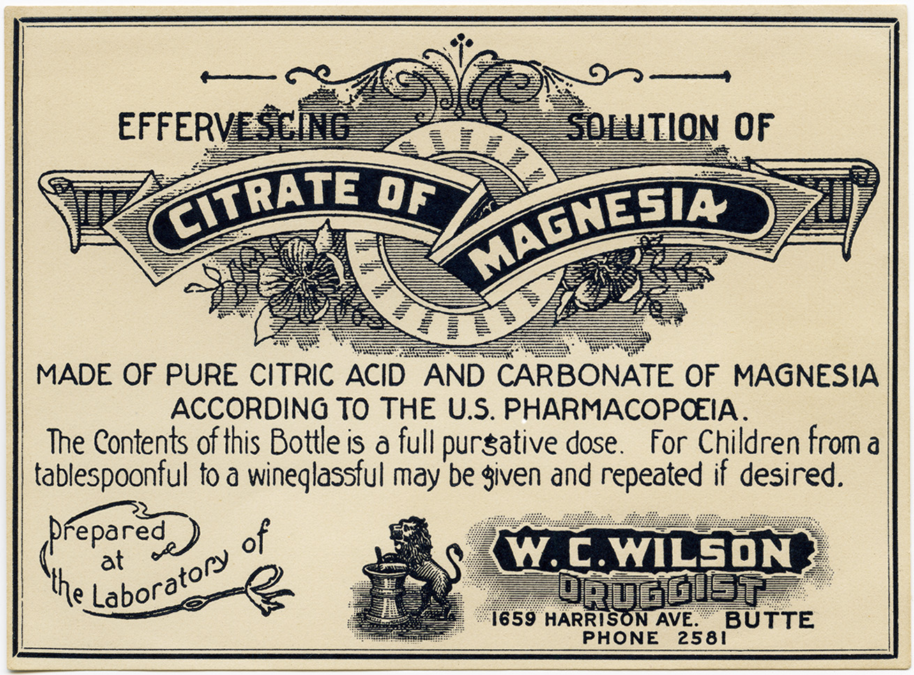 w c wilson druggist citrate of magnesia label old
