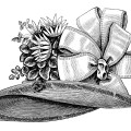 victorian ladies hat, old fashioned hat, victorian fashion accessories, black and white clipart, vintage hat for women
