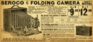 aged paper ephemera, old fashioned camera image, black and white clipart, antique camera illustration, vintage camera clip art, seroco camera ad, 1907 camera