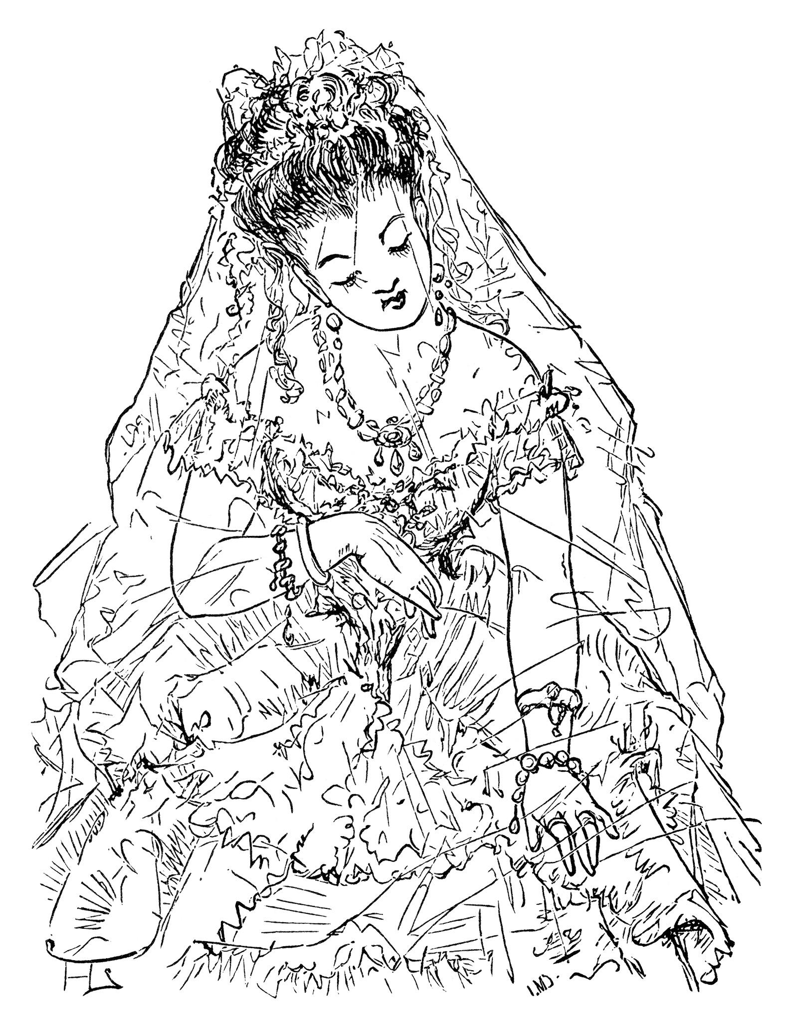 Victorian Bride Clip Art Free Black And White Clipart Vintage Image Antique