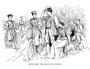 Victorian fashion illustration, bicycle and bicycling outfits 1895, black and white clip art, antique bike clipart, Victorian people image