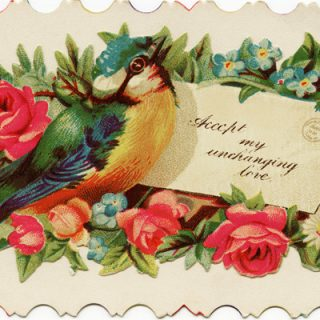 free vintage clip art Victorian calling card bird rose envelope