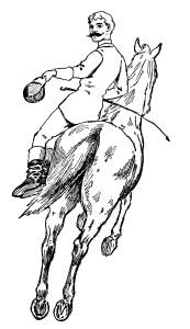 free vintage clip art horse and rider illustration