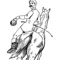free vintage clip art horse and rider illustration