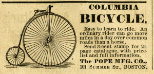 Free vintage clip art image columbia bicycle magazine advertisement