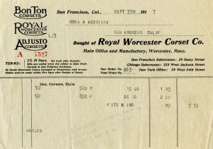 vintage receipt, vintage ephemera free, old invoice digital download, Victorian corset paper, royal worcester corset co