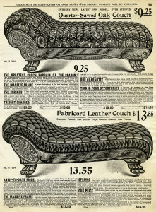 Victorian couch image, antique furniture clipart, black and white clip art, old catalog page, old fashioned sofa graphics