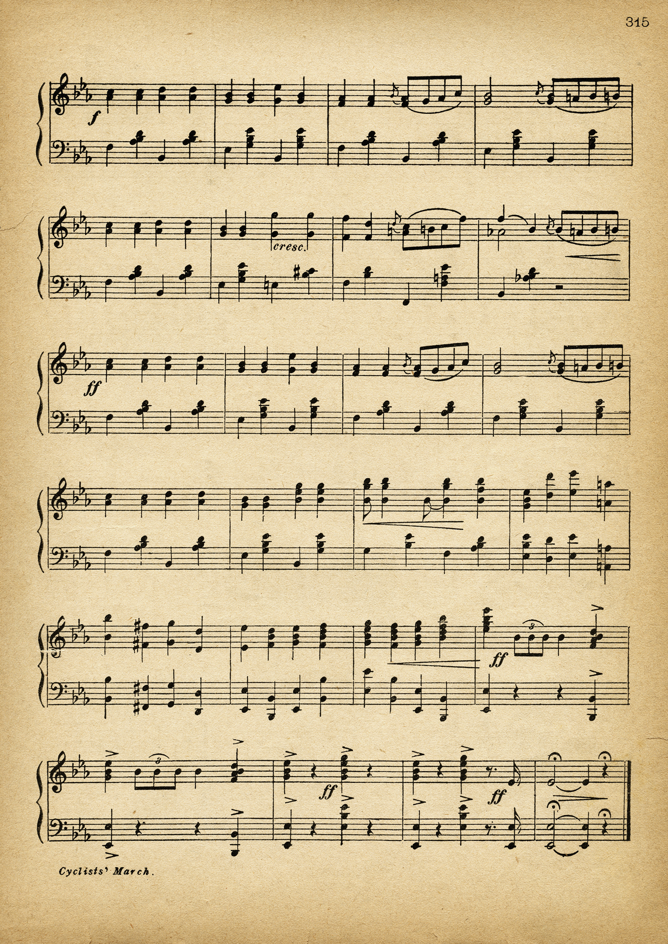 Cyclists' March ~ Free Vintage Sheet Music Pages - Old ...