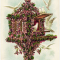 vintage postcard birds, flowered birdhouse, purple flowers doves image, old card birds, vintage ephemera free graphics