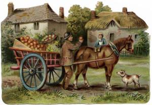 vintage farm clip art, printable farm horse illustration, horse drawn apple cart, farmer selling apples, Victorian country scene