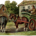Victorian farm scene, horse drawn wagon clipart, old fashioned farmer, vintage farm clip art free, coal wagon image