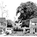 vintage floor plan, vintage house clipart, black and white graphics, early home attached garage, 1920 house and plans