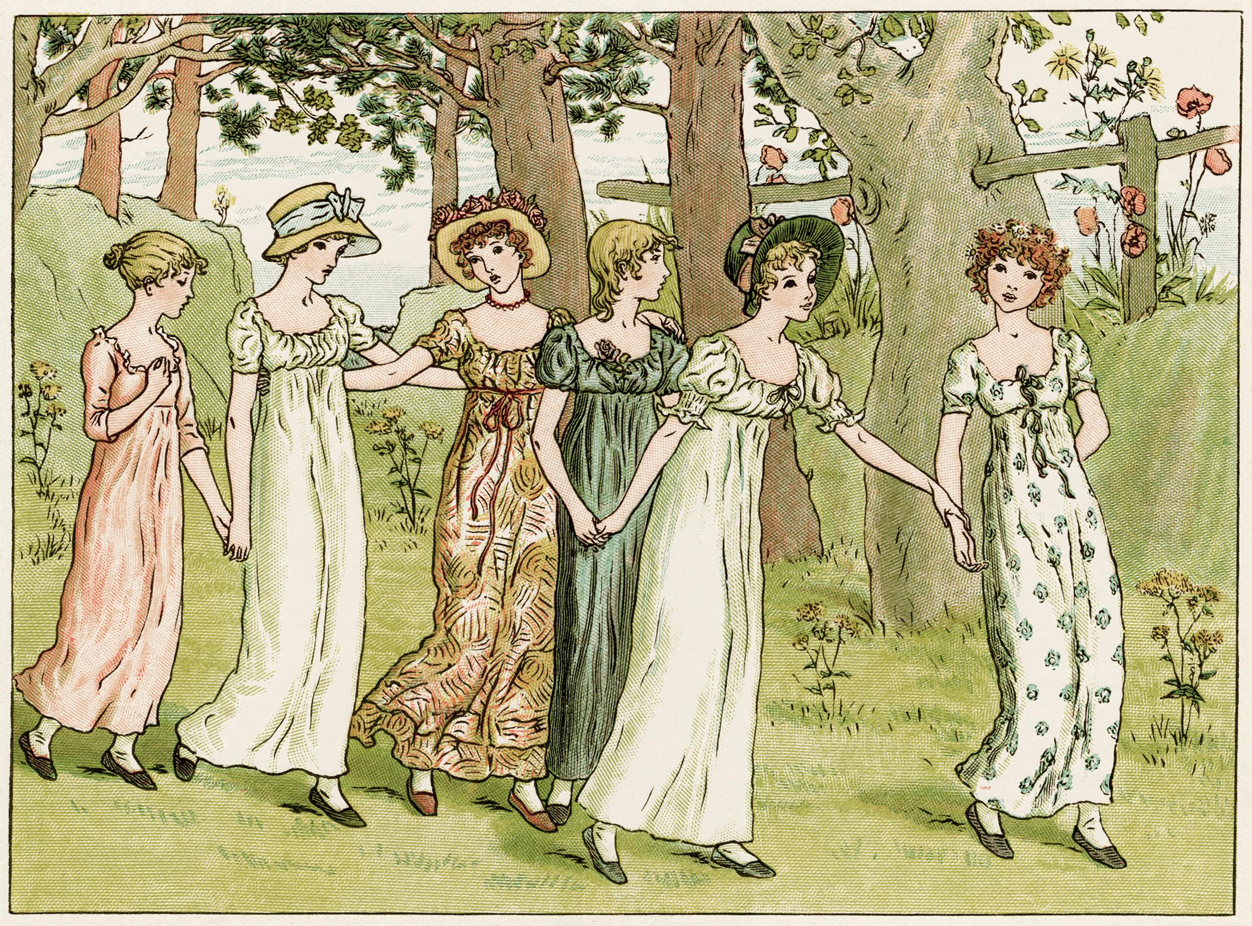 Victorian girls illustration, Kate Greenaway, vintage storybook image, girls walking clipart, childrens story printable