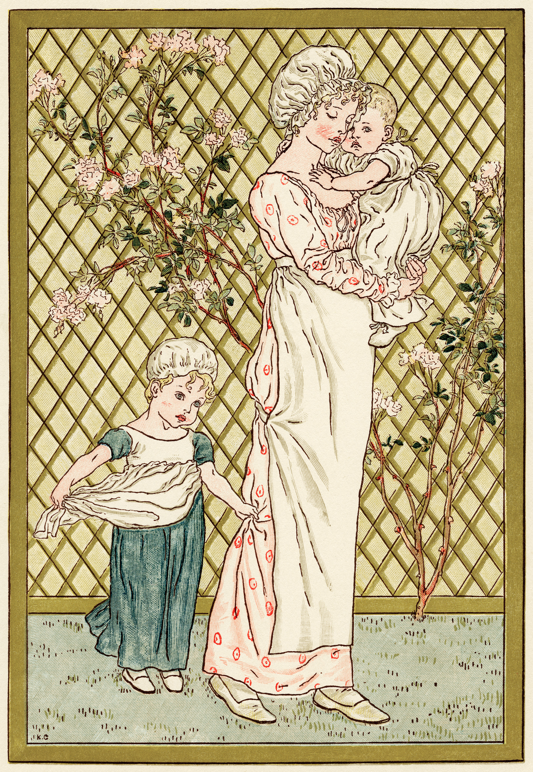 Mother And Children By Kate Greenaway Free Victorian