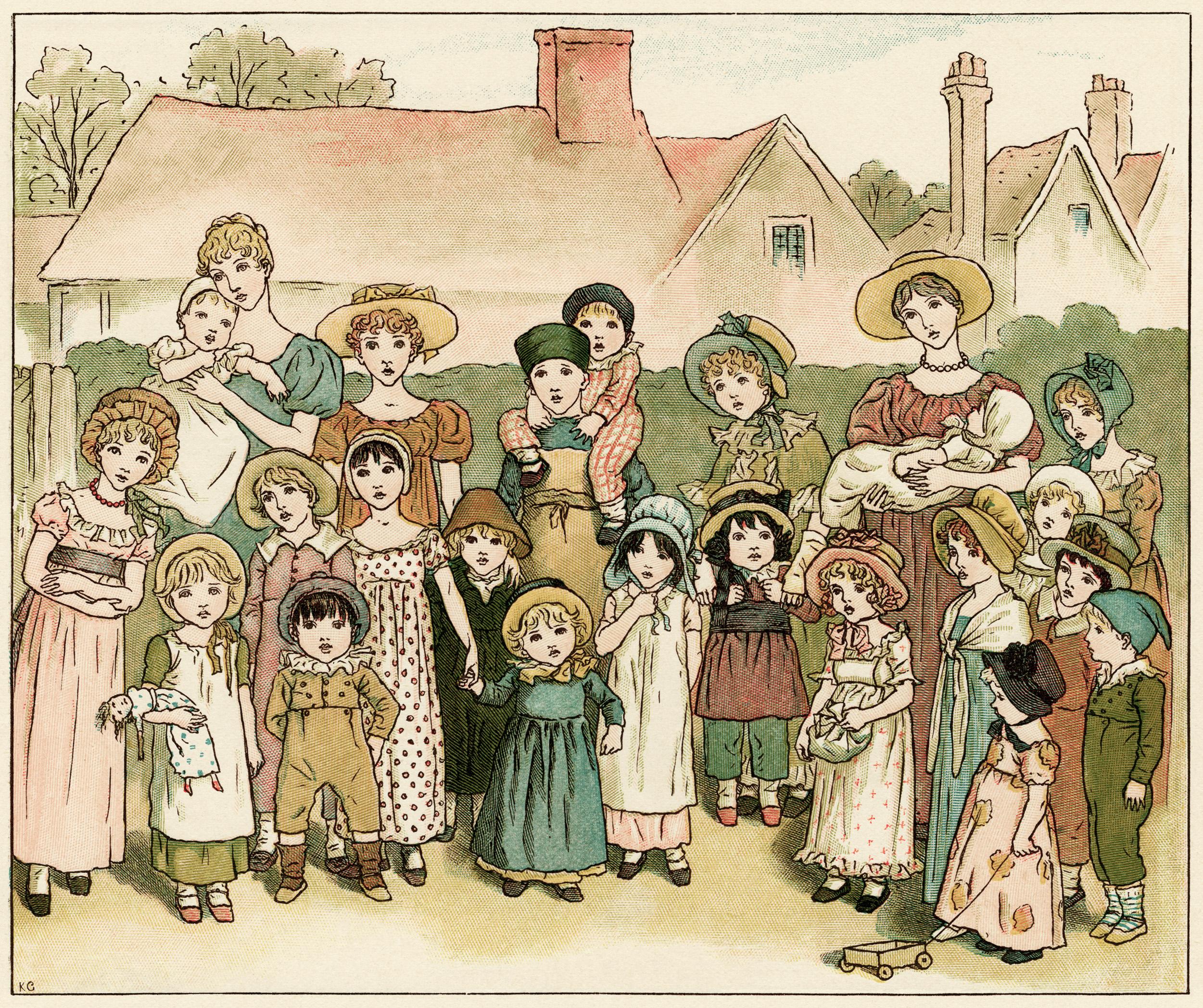 Kate Greenaway, street show, vintage storybook image, children's printable, Victorian people story illustration
