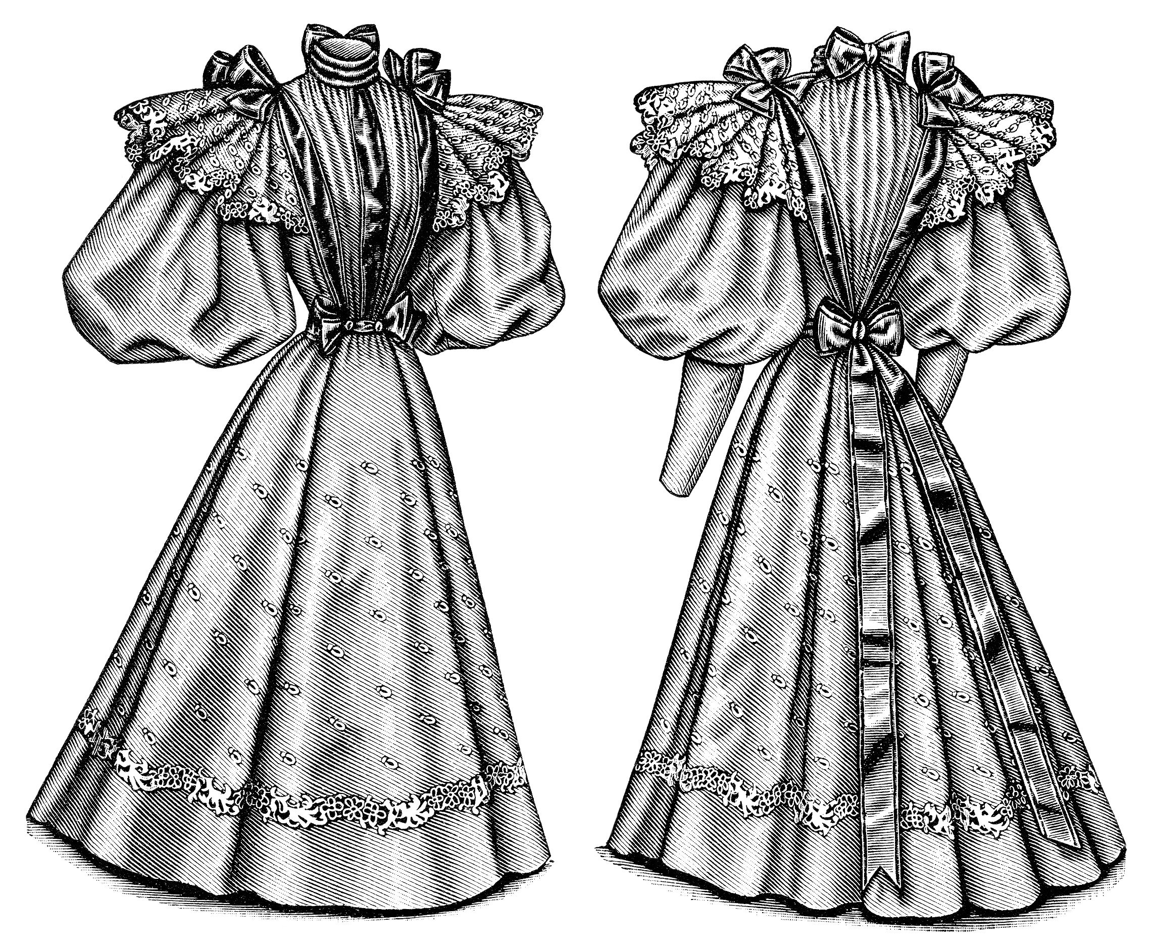 Edwardian fashion illustration, Victorian ladies fashion clip art, vintage dress image, black and white clip art, antique ladies costume printable