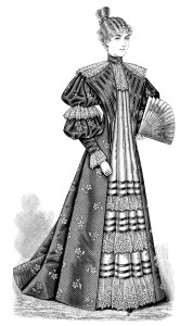 Victorian fashion, black and white clip art, vintage fashion image, Victorian lady illustration, antique womens clothing style, printable Victorian graphics