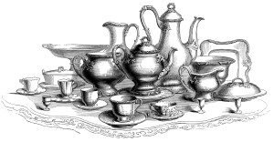 vintage tea set clipart, black and white graphics, kitchen dish clip art, tea service engraving, coffee tea public domain image