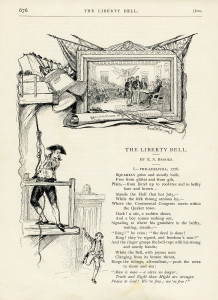 Liberty Bell, E S Brooks, Independence Day images, United States patriotic poem, July 4th, land of the free usa, vintage patriotic art