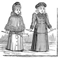 victorian girls fashion, old fashioned clothes for girls, vintage girls clothing clipart, vintage people clipart, black and white graphics