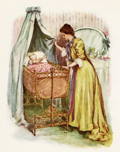 vintage baby clipart, mother child illustration, victorian mom and baby, baby in bassinet image