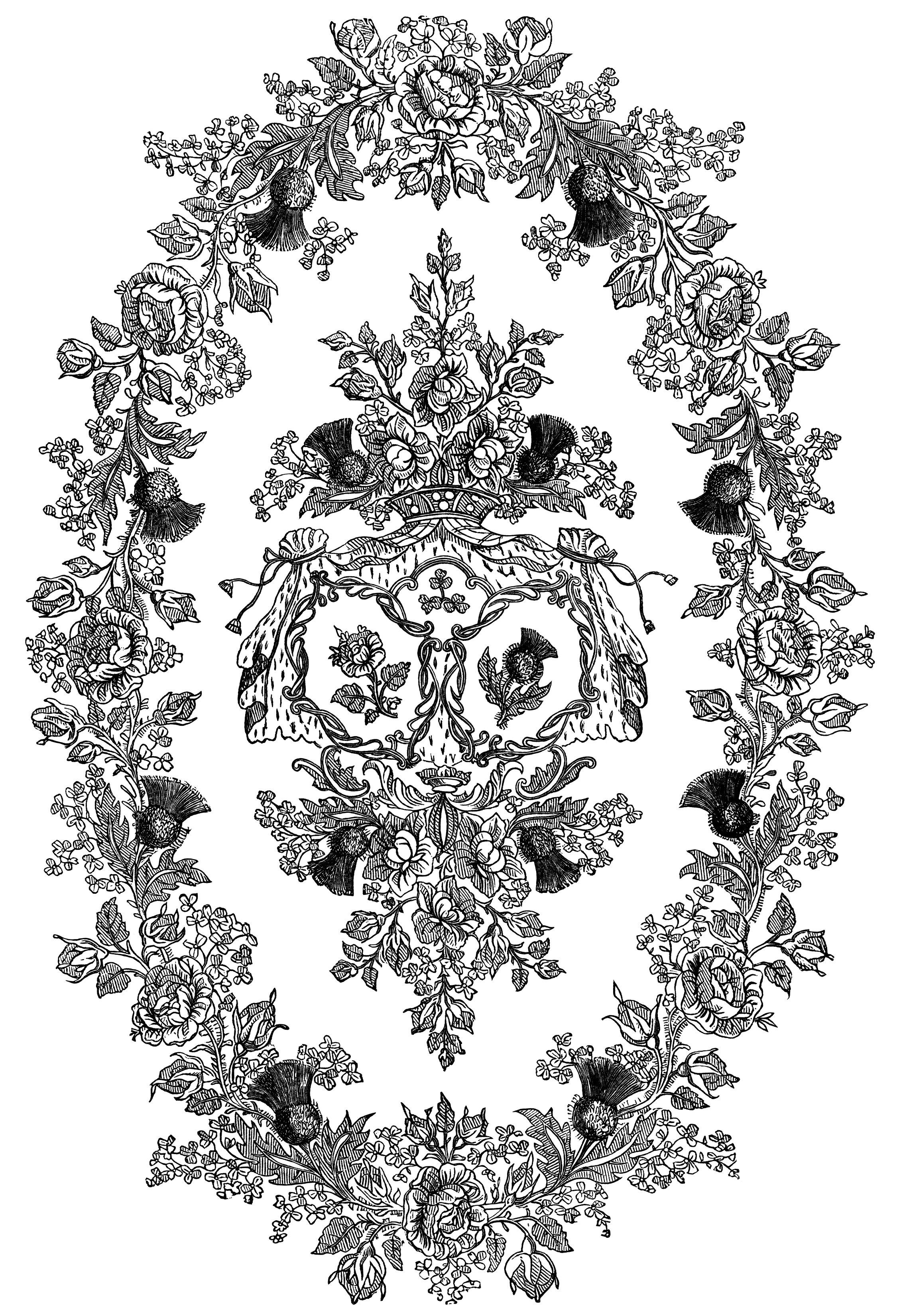 black and white clipart, ornamental floral illustration, ornate swirl design, vintage frame engraving, point embroidery pattern, vintage embroidery design