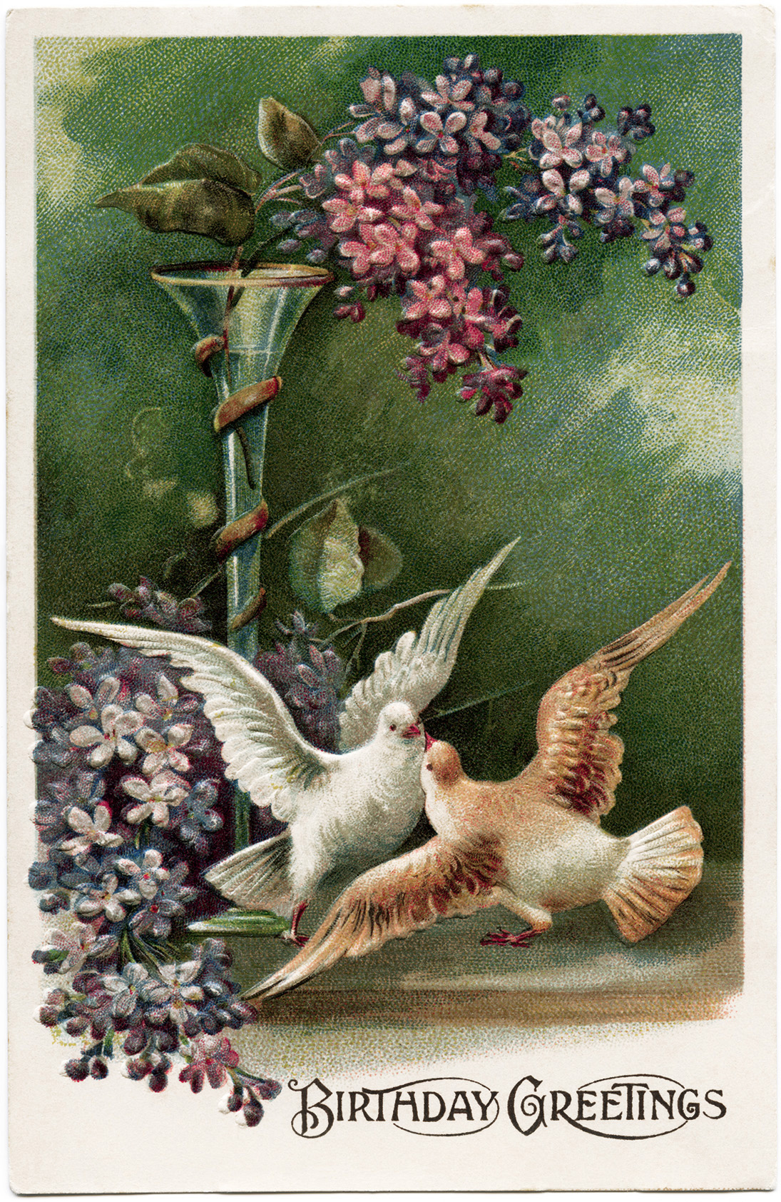 digital download image, free vintage ephemera, old fashioned postcard download, purple flowers doves clipart, vintage postcard birds, antique birthday postcard